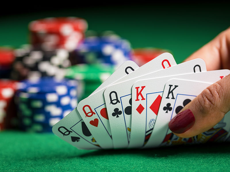 Poker night with professional croupier and equipment