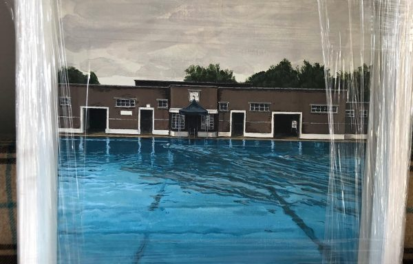 Acryllic print of Parliament Hill Lido by local artist Laura Price